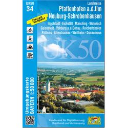Pfaffenhofen - Schrobenhausen 1 : 50 000 (UK50-34)