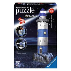 Ravensburger 3D-Puzzle Bauwerke Leuchtturm Bei Nacht, Night Edition, 216 Puzzleteile