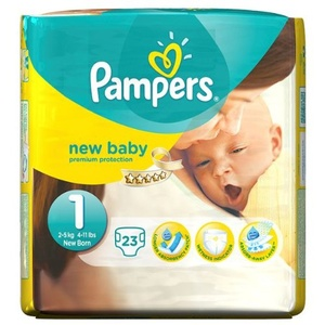 Pampers New Baby Größe 1 Carry -Pack 23 Windeln pro Packung 2 x 23ct