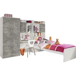 Jugendzimmer Naomi 1 4-teilig weiß / grau B 275 cm
