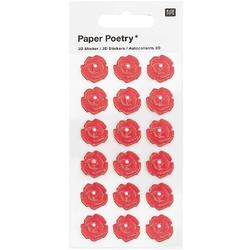 3D Sticker Rosen Perle Rot