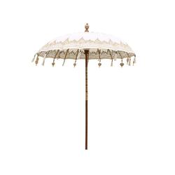 Oriental Galerie Sonnenschirm Balinesischer Sonnenschirm 180 cm Einfache Bemalung Weiß Gold, Handarbeit weiß