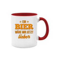 Shirtracer Tasse Ein Bier wäre mir jetzt lieber - Tasse mit Spruch - Tasse zweifarbig - Tassen, tasse bier