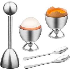 MOCOLI Eierköpfer Set Edelstahl Eieröffner Eier Eierteiler Eierschneider mit 1x Eierköpfer 2X Eierbecher 2X Eier, Eierköpfer Set Küchenwerkzeug aus Edelstahl