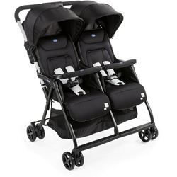 Chicco Zwillingsbuggy OHlalà Twin, Black Night, Zwillingskinderwagen; Kinderwagen für Zwillinge; Buggy für Zwillinge; Zwillingswagen