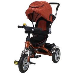 miweba Kinder-Buggy Kinderdreirad 7 in 1 Schieber Kinderwagen, 360° Drehbar - Luftreifen - Dreirad - Ab 1 Jahr braun