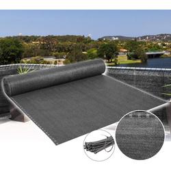 Woltu Blende, Zaunblende Schattiernetz mit Kabelbinder,anthrazit 200 cm x 1500 cm