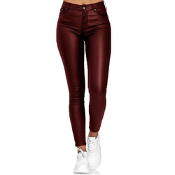 TOPMELON Stretch-Hose Lederhose Stretch (1-tlg) PU Leggings rot S