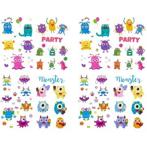 Temporäre Klebetattoos Kinder Tattoo Set - ca. 60 Monster Tattoos