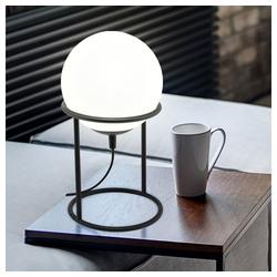 etc-shop Kugelleuchte, Nachttischlampe Kugel Glas Kugellampe Innen Kugel Tischlampe weiß, mit schwarzem Gestell, 1x E14, DxH 15 x 28 cm
