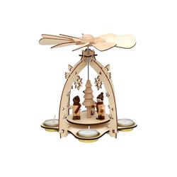 SIGRO Weihnachtspyramide Holz Teelichtpyramide Winterfiguren