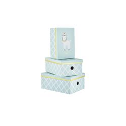 Basispreis* Aufbewahrungsboxen, 3er-Set ¦ blau ¦ Papier, Metall ¦ Maße (cm): B: 28 H: 21,5 T: 12,5