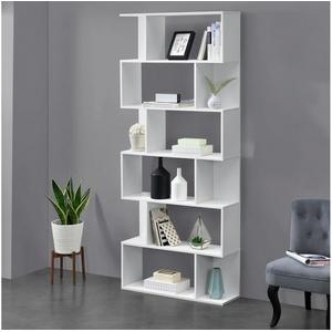 en.casa Bücherregal, Oxford Design Hängeregal mit 6 Ablagen Raumteiler 192x80x24cm weiß weiß