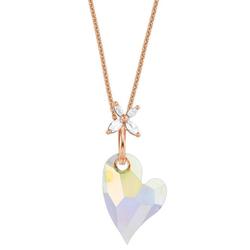 Amor Kette mit Anhänger Herz und Blüte, 9556045, mit Kristallglasstein und Zirkonia