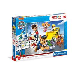 Clementoni® Puzzle Puzzle 60 Teile, Happy Color Double Face - PAW, Puzzleteile