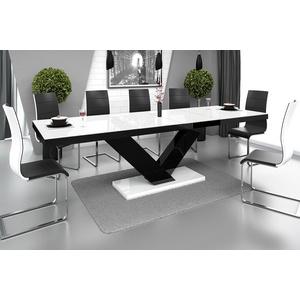 designimpex Esstisch Design Esstisch Tisch HE-999 Weiß / Schwarz Hochglanz ausziehbar 160 bis 256 cm weiß