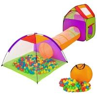 Tectake Spielzelt mit Tunnel bunt inkl. 200 Bällen und Tasche