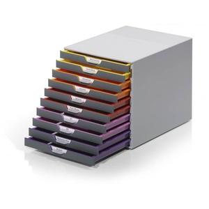 DURABLE Schubladenbox VARICOLOR, Durable 761027 Schubladenbox A4 (Varicolor) 10 Fächer, mit Etiketten zur Beschriftung, mehrfarbig
