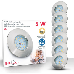 B.K.Licht LED Einbauleuchte, LED Einbaustrahler ultra flach 6 x 5W 400 Lumen 3.000K LED Einbauspot Bad Deckenspot IP44