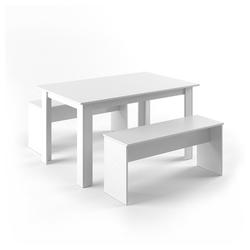 Vicco Essgruppe Tischgruppe Sitzgruppe Holztisch Esstisch Holz Tisch Weiß