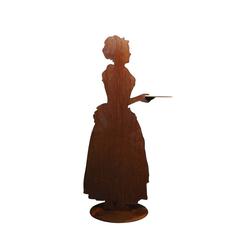 440s Dekoobjekt 440s Rost-Figur barockes Kakao-Mädchen mit Tablett