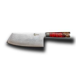 Calisso Hackmesser Ruby Line Chai Dao Chinesisches Küchenmesser, Damaskus Stahl