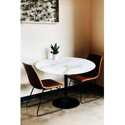 my home Esstisch Alannah, Tischplatte in Marmoroptik weiß