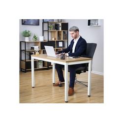 SONGMICS Schreibtisch LWD64N, Bürotisch, Esstisch, Arbeitstisch, modern, holzfarben + weiß