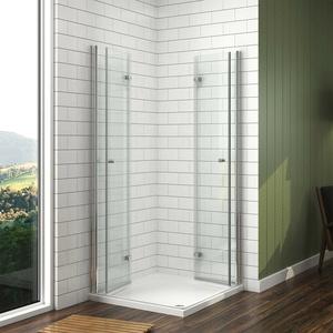 Duschkabine 80x80 Eckeinstieg Echtglas Duschwand Dusche Falttür Duschtrennwand