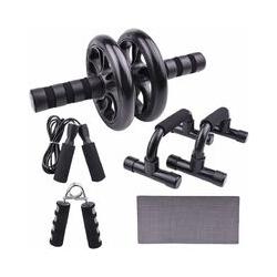 Abcrital - 5 en 1 Appareils de Fitness Roue Abdominale + 2 Poignées de Pompe + Corde à Sauter+