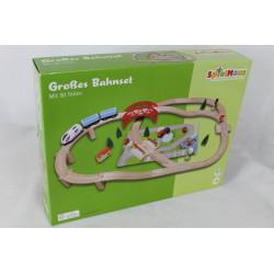 SpielMaus Holzeisenbahn Bahn-Set mit Brücke, 50-teilig