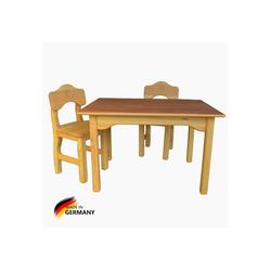 Madera Spielzeuge Kindersitzgruppe Kindersitz Gruppe Madera Tisch&Stuhl, (Spar Set, 3-tlg., 1 Tisch und 2 Stühle aus Massivholz), Made in Germany