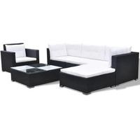 vidaXL Polyrattan Lounge-Set mit Auflagen 6-tlg. schwarz 41874