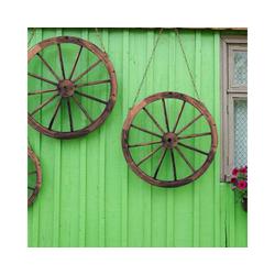 COSTWAY Deko-Windrad Wagenrad (2 Stück), 2er Set Wagenrad Braun, Holzrad mit Eisenblech Holz Wagen Dekorad