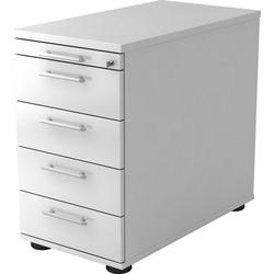 bümö Container OM-SC50 mit Schloss & 5 Schubladen - Schreibtisch Bürocontainer, Standcontainer fürs Büro - Dekor: Weiß weiß