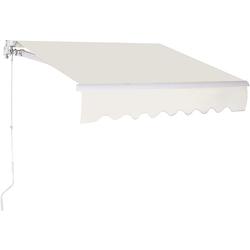 COSTWAY Markise Sonnenmarkise, Terrassenmarkise, Klemmmarkise 3 x 2,5 m, mit Kurbel, für Balkon und Veranda weiß