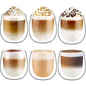 Glastal 250ml Doppelwandige Latte Macchiato Espressotassen Espresso Glaser 6er Set Thermoglas Kaffeeglas Trinkgläser