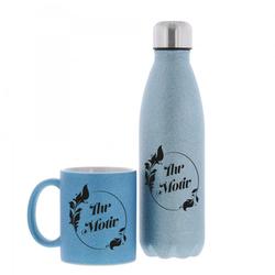 SET aus Keramiktasse und Isolierflasche individuell bedruckt in
