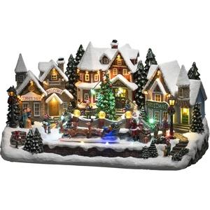 """KONSTSMIDE Weihnachtsstadt, LED Szenerie, """"Häuser um Weihnachtsbaum mit bewegendem Rentierschlitten"""", mit Musik bunt"""