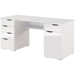Maja Möbel Schreibtisch Cuba, mit geschwungener Schreibtischplatte weiß