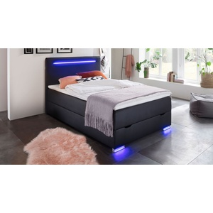 Bettkasten-Boxspringbett 140x200 cm schwarz mit LED und USB - Andrik