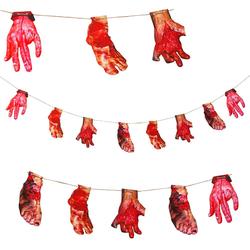 Halloween Girlande schaurige blutige Füße & Hände Halloween Dekoration