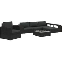 vidaXL Polyrattan Lounge-Set mit Auflagen 8-tlg. schwarz 46825