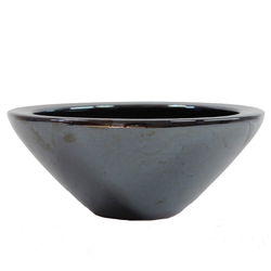 Dehner Übertopf Schale, Ø 30 cm, Höhe 14 cm, Keramik, glasiert schwarz