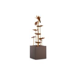 blumfeldt Gartenbrunnen Golden Orchid Gartenbrunnen Pumpe mit 5W IPX8 Indoor & Outdoor Messing-Optik, 30 cm Breite