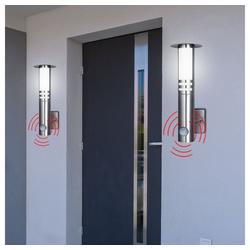 etc-shop LED Laterne, 2x LED Außen Wand Lampe Edelstahl Garten Laterne Balkon Leuchte BEWEGUNGSMELDER