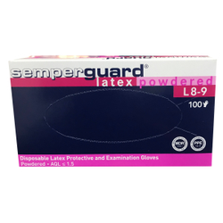 Semperguard® Einmalhandschuhe, Latex, gepudert, Farbe: weiß, 1 Packung = 100 Stück, Größe: L
