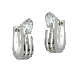 Gallay Paar Creolen 15x4,6mm Klappscharnier Zirkonias weiß Silber 925