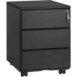 Woltu Rollcontainer, Rollcontainer Büroschrank mit 3 Schubladen schwarz