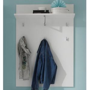 möbelando Wandgarderobe Suzette, Modernes Garderobenpaneel aus MDF in weiß-glänzend 5 Garderobenhaken, 1 Ablageboden und 1 Kleiderstange. Breite 80 cm, Höhe 119 cm, Tiefe 30 cm